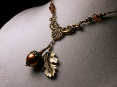Gold Copper Brown Acorn Crystal Pearl Drop by TitanicTemptations