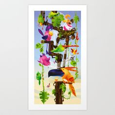 5 O'Clock Treetime – Impressions of Birdland 2 Art Print by Woodoopete - $19.76