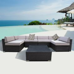 Outdoor wicker patio pe rattan 7pcs couch sectional sofa furniture set - Home Modern Outdoor Furniture On Pinterest Wicker
