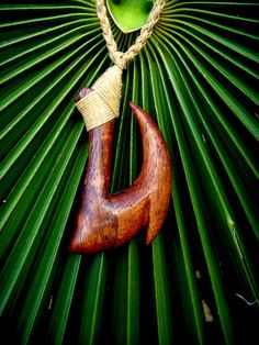 Fish hook Necklace Hand Carved Hawaiian Acacia Koa by KoaKarver