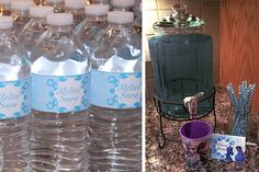 Frozen Party - Melted Snow Water Bottle Labels and Blue Punch