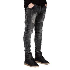 2017 Men Skinny Jeans Streetwear Hip hop Ripped Biker Jeans homme Men's fashion With Holes Denim Motorcycle Destroyed Jean Pants Biker Jeans, Jeans Denim, Black Jeans, Skinny Jeans, Denim Joggers, Ripped Denim, Casual Jeans, Jeans Leggings, Cargo Pants