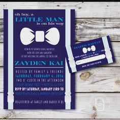 Our New Little Man invitation design is now up and available to purchase in our shop!