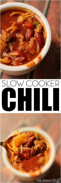 Our Mom's SUPER EASY Slow Cooker Chili - we eat this every Halloween! Recipe from Six Sisters' Stuff
