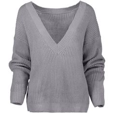 V Back Chunky Sweater Gray (940 RUB) ❤ liked on Polyvore featuring tops, sweaters, v back sweater, grey top, chunky gray sweater, gray sweater and v back top
