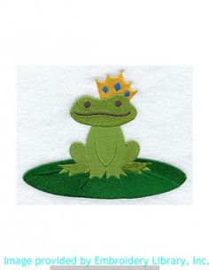 Stickmotiv Stickbild Aufnäher Stickerei Emblem Frosch  Frosch /  Stickerei Frog Prince (D6818)