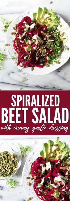 You'll love this recipe for raw Spiralized Beet Salad with vegan Creamy Garlic Dressing! I can't believe it's dairy free, it's so creamy and delicious!! thetoastedpinenut.com #ILoveSalads