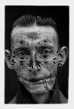 """alecshao:    Ashkan Honarvar - Faces, 2009 - pen on photograph    """"Beauty comes in all shapes and sizes. It occurs in places you least expect, revealing its art in the human body, but also cruelly absent in the presence of deformation and scars. Honarvar depicts an undeniable, unavoidable beauty by accepting the darker sides of human nature."""""""