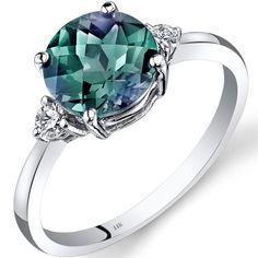 Oravo 14k White Gold 2 1/4ct TGW Alexandrite Round-cut 1/10ct TDW Diamond Ring (Size 7)