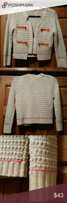 FP Zip Up Sweater Jacket So adorable! Breastline across laying flat measures 16 inches across. 14.25 arm inseam, shoulder to bottom length 18 inches. 70% wool, 30% acrylic. Pristine like new condition. So soft and cozy. :) Free People Sweaters