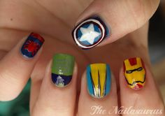"""""""Manicure Monday: Marvel Nail Art, by The Nailasaurus. That Wolverine nail is absolute perfection. Marvel Nails, Avengers Nails, Uk Nails, Hair And Nails, Wolverine Nails, Superhero Nails, Nail Art Blog, Nails For Kids, Cute Nail Designs"""