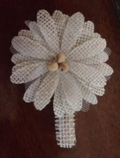 Primitive Burlap Flowers Rustic Barn Wedding Shabby Chic Bridal Flower Clothespin Clips S/3 #Handmade By PrimitivePics