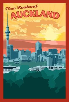 Auckland New Zealand - Vintage Travel Poster