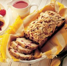 Try the delicious Cranberry Almond Bread recipe from Ocean Spray®. The sweetness of cranberry and the crunch of almonds in this tasty bread will make your day! Cranberry Bread, Cranberry Almond, Cranberry Recipes, Beignets, Bread Recipes, Cooking Recipes, Delicious Desserts, Yummy Food, Dessert Recipes