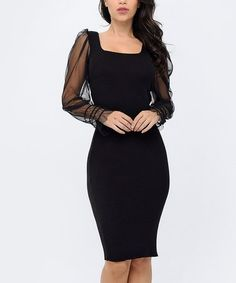 Love this Black Sheer-Sleeve Square Neck Bodycon Dress - Women on Holiday Party Dresses, Bodycon Dress, Sleeves, Black, Women, Fashion, Moda, Party Dresses, Body Con