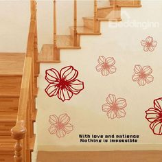New Arrival Red Flowers Wall Stickers for Room Decoration #home #decor