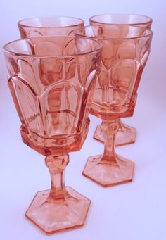 Vintage Pink FOSTORIA Goblets for Wine or by WickedCoolVintage, $20.00