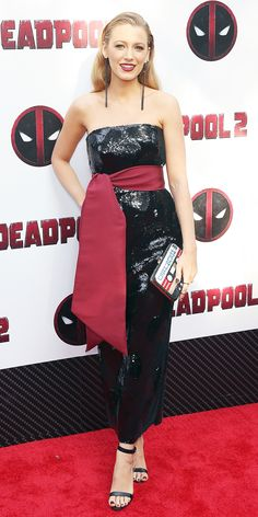 During the Deadpool 2 premiere, Blake Lively supported her husband Ryan Reynolds while wearing a black and red dress that mimics the superhero's costume in the chicest way.