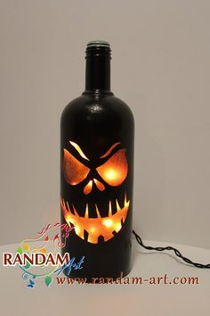 Halloween jack o lantern painted Wine Bottle Light by RandamArt