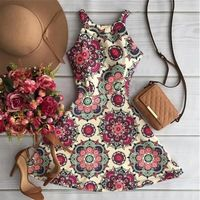 2016 verão moda flor impressão vestido o pescoço fino Vestidos de nova marca Desigual Vestidos Plus Size