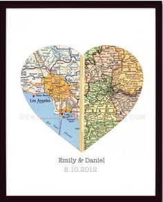 bruiloft / samenwonen kaarten van geboorteplaatsen samen een hart