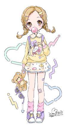 Kawaii little girl #art #illustration #kawaii More