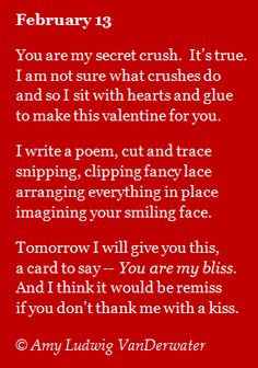 A Valentine poem, mini lesson about counting syllables, and three Valentine craft ideas...from The Poem Farm, a site full of poems and poem mini lessons, and poetry ideas - www.poemfarm.amylv.com