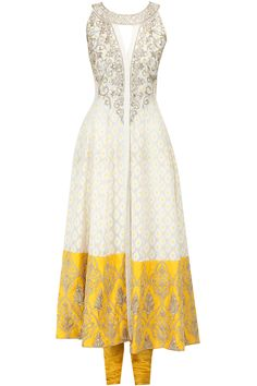 Cream and yellow embroidered kurta - Featuring a cream cotton silk printed anarkali with gold embroidered neckline and border hem. It comes along with yellow viscose churidaar and yellow net dupatta - ANITA DONGRE