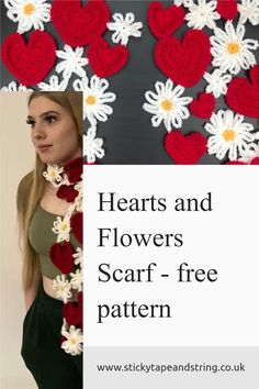 quick make - free pattern for this free crochet scarf with hearts and flower motifs. Great little stash buster. Crochet Wrap Pattern, Crochet Motif, Crochet Flowers, Free Crochet, Crochet Patterns For Beginners, Easy Crochet Patterns, Crochet Designs, Crochet Ideas, Scarf Patterns
