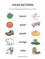 Printable color matching worksheets.