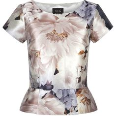 Nude Floral Top with Peplum found on Polyvore