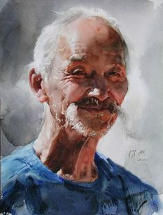 guan weixing watercolor | Guan Weixings watercolor-- Old man from northeast
