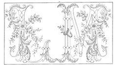 Shawkl: Ornate Vintage Alphabet Motif - L,M