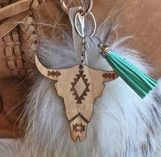 Aztec Steer Skull Laser Cut Wood Keychain