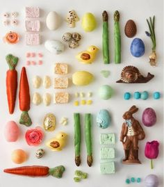 SO fun! colourful + festive food styling! love the subjects and the overall balance + arrangement to relay these foodstories!  #photostyling #easter #propstory #food styling #colour #foodstory #chocolate #propstyling