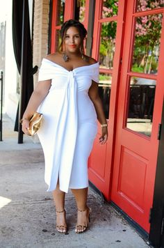 #slimmingbodyshapers   Sweet! Big curvy plus size women are beautiful! fashion curves real women accept your body consciousness plus size shapewear and bras to feel your most comfortable under any clothing slimmingbodyshapers.com        Off The Shoulder Bow Dress