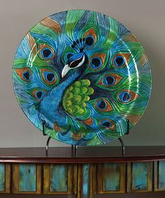 Hand-painted glass platter with a peacock motif. Product: PlatterConstruction Material: GlassColor: MultiFeatures: Hand-paintedPeacock motif Dimensions: DiameterNote: Stand not included Peacock Decor, Peacock Colors, Peacock Art, Peacock Theme, Peacock Design, Peacock Feathers, Peacock Pics, Peacock Wedding, Peacock Blue