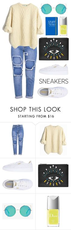 """""""white snickers🍫😄"""" by mis-panda ❤ liked on Polyvore featuring Puma, Kenzo, Boohoo, Christian Dior and Happy Jackson"""