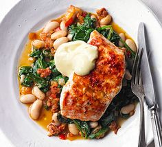 Smoky hake, beans & greens is part of Smoky Hake Beans Greens Recipe Bbc Good Food - Grill white fish fillets and serve on top of chorizo, cannellini beans and spinach for a quick dinner that packs in 3 of your 5 a day Hake Recipes, Seafood Recipes, Salmon Recipes, White Fish Recipes, Bbc Good Food Recipes, Cooking Recipes, Healthy Recipes, 5 A Day Recipes, Cooking Videos