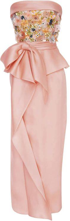Sequin Embroidered Tea Length Dress #dress#features#Marchesa