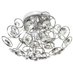 """Check out the Dainolite STN-163FH-PC Stanza 3 Light Crystal Flush Mount in Polished Chrome priced at $192.78 at Homeclick.com. 3 X 40 watt halogen, canopy 6"""", width 17"""""""