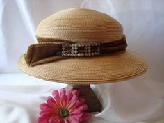 Hat Ladies Vintage Staw Hat Green Velvet by couturecafe on Etsy