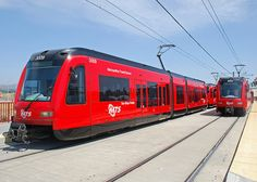 Siemens S70 Light Rail Vehicles of the San Diego Trolley at the Gillespie Field Trolley Station in El Cajon, CA.