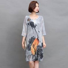 2017 Summer New Women Vintage Retro Folk Style Silk Chiffon Plus Size Three Quarter Sleeve V-neck Printed Dress Vestidos 8173#