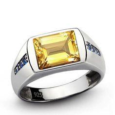 Mens GOLDEN CITRINE Ring with GENUINE BLUE SAPPHIRES Solid 925 Sterling Silver # jewelsformen # mensjewelryshop # onlineshopping # menstylefashion # mensringsonline # giftforbf # bestmensgifts # handmadering # mensaccessories #finemensjewelry