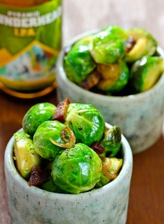 Roasted Brussel Sprouts with bacon and beer