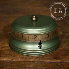 Vintage Industrial Art Deco Clock Wind Up Cylinder Desk Steampunk Depression 1930s Green  Mid Century 175.00 wowwie zowwie