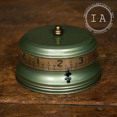 Vintage Industrial Art Deco Clock Wind Up Cylinder Desk Steampunk Depression 1930s Green  Mid Century 175.00 wowwie zowwie