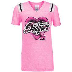 Los Angeles Dodgers Girl's Triblend V-Neck with Shoulder Stripes - MLB.com Shop