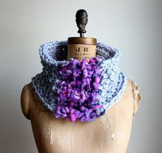 Bohemian knit cowl Grey. Radiant Orchid. Purple. Fuchsia. Circle scarf.